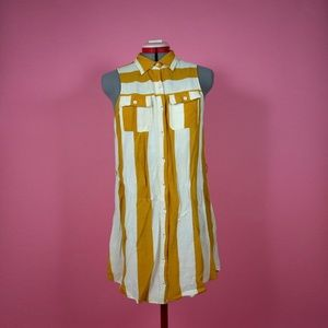 Yellow and Cream Striped Button Up Tunic